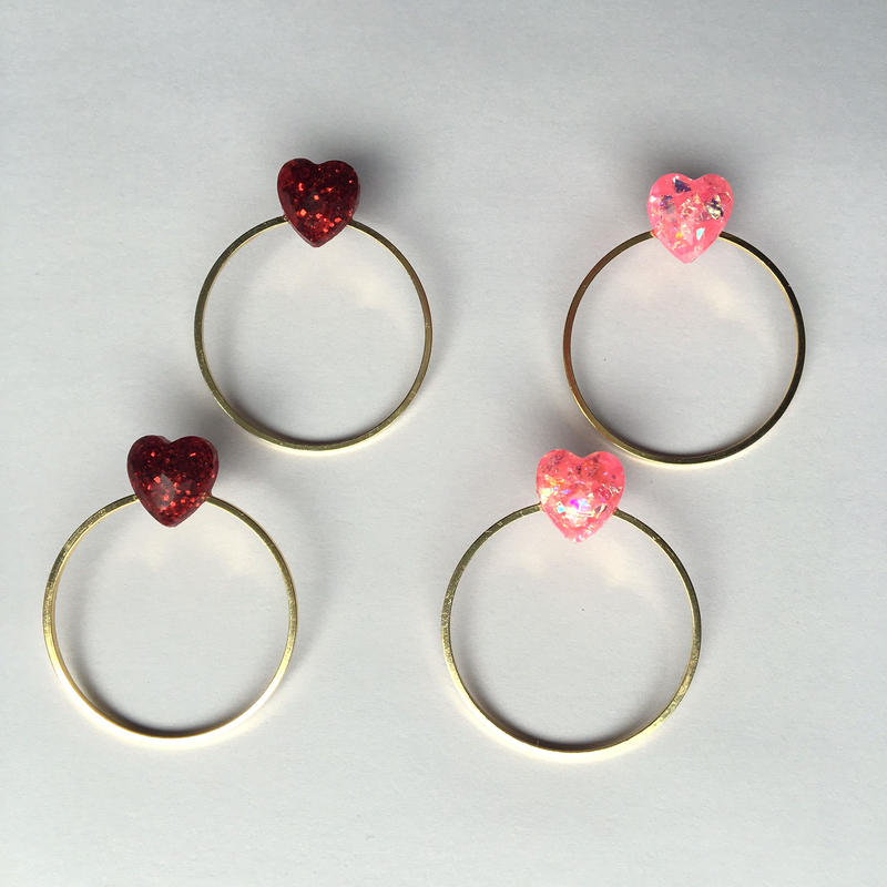 MINI HEART RING ピアス