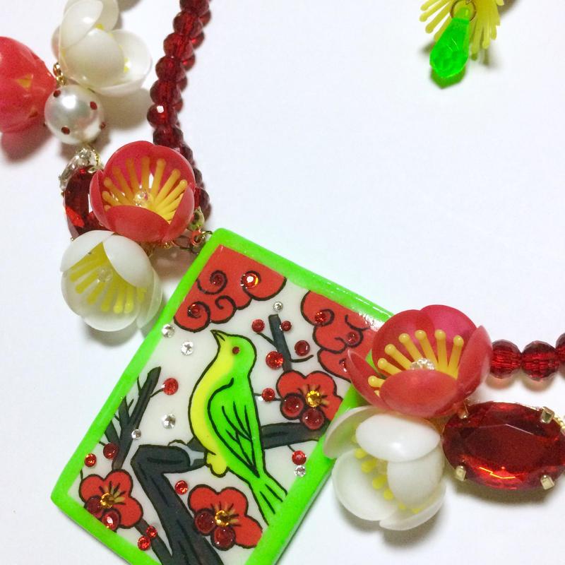 花札ネックレス(ウグイス)