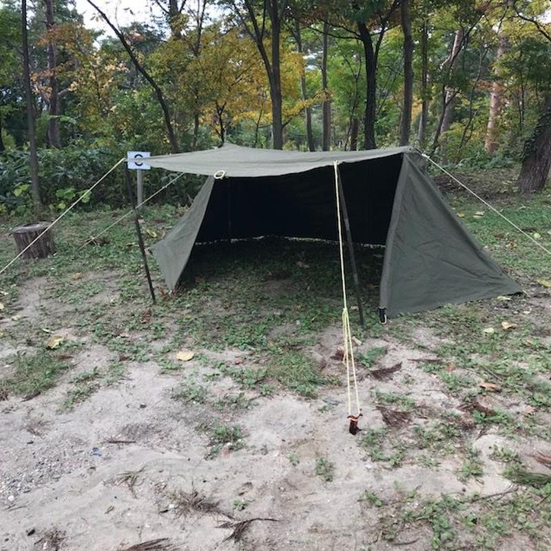 B品 US Pup Tent +zipper US パップテントセット+ファスナー改造(デッドB品)追加ポール付き