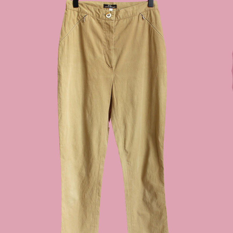 beige high-waist pants