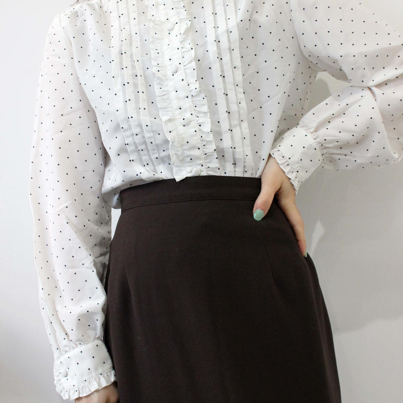 brown pencil long skirt