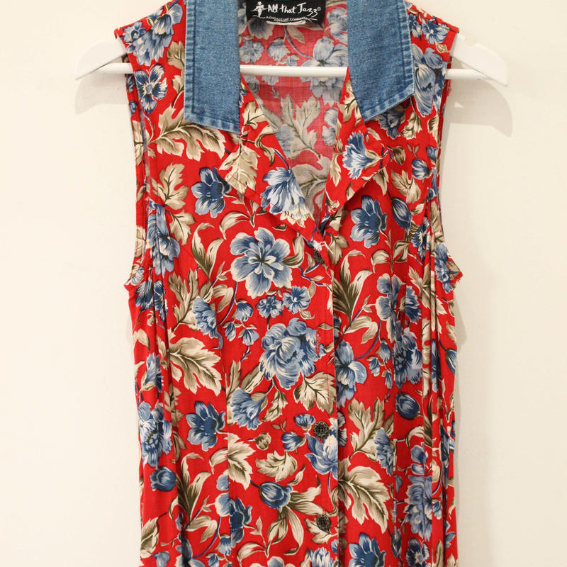 denim×flowerpattern one-piece