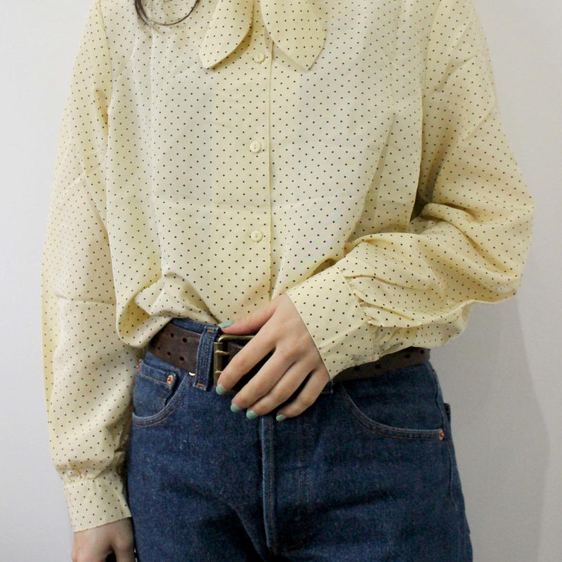 dot lemon yellow  blouse