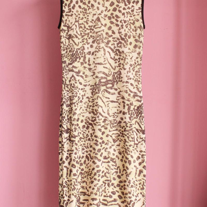 leopard knit one-piece