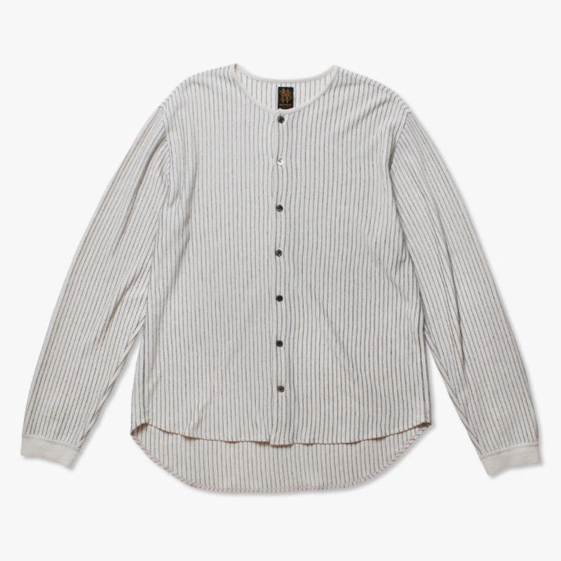 BATONER MEN STRIPE CREWNECK CARDIGAN Natural×Black BN-19SM-028