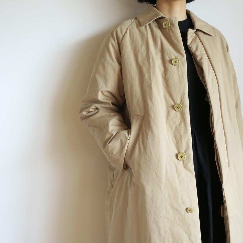 YAECA WOMEN SOUTIEN COLLAR COAT LONG PADDING KHAKI 68553