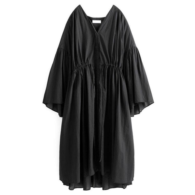 Graphpaper WOMEN Cotton Loan Big Dress BLACK GL191-60071