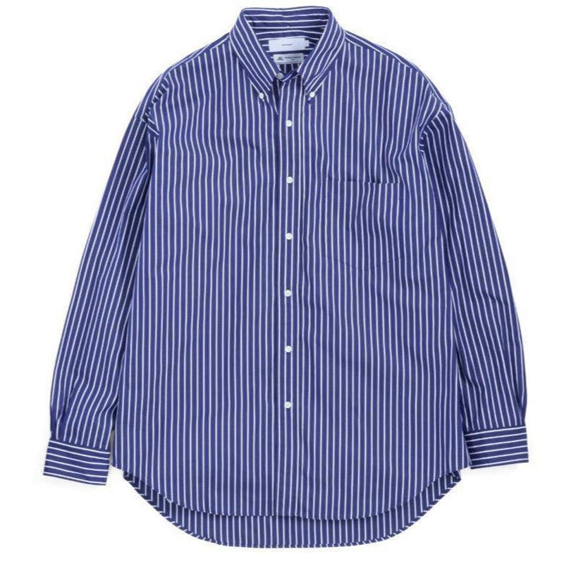 Graphpaper MEN Thomas Mason L/S B.D Shirt NAVY STRIPE GM191-50033B
