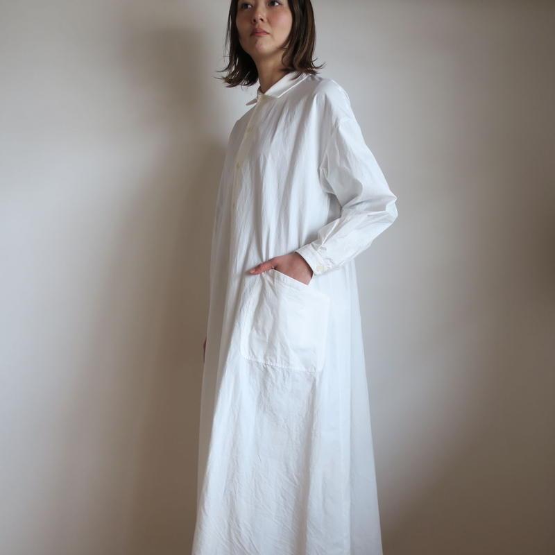 YAECA WRITE WOMEN ワークシャツドレス WHITE