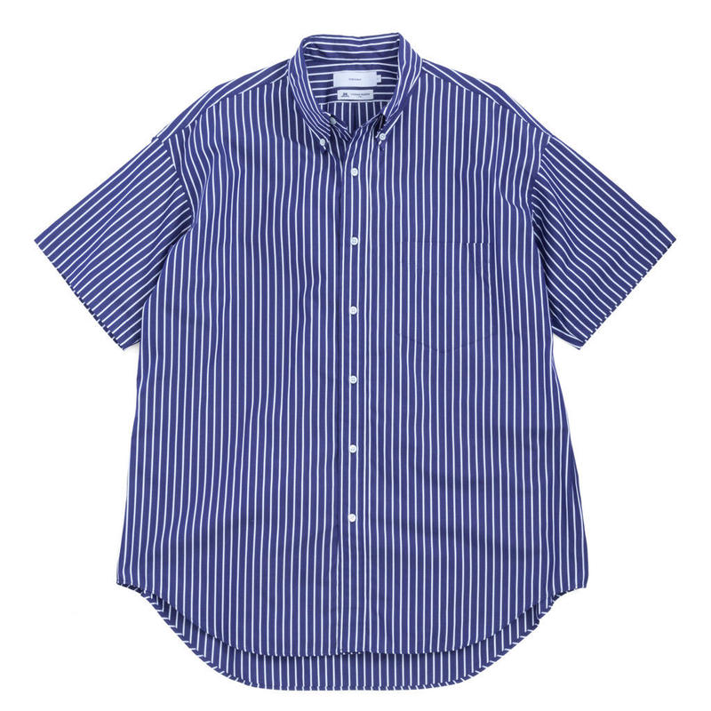 Graphpaper MEN Thomas Mason S/S B.D Shirt NAVY ST GM192-50034B