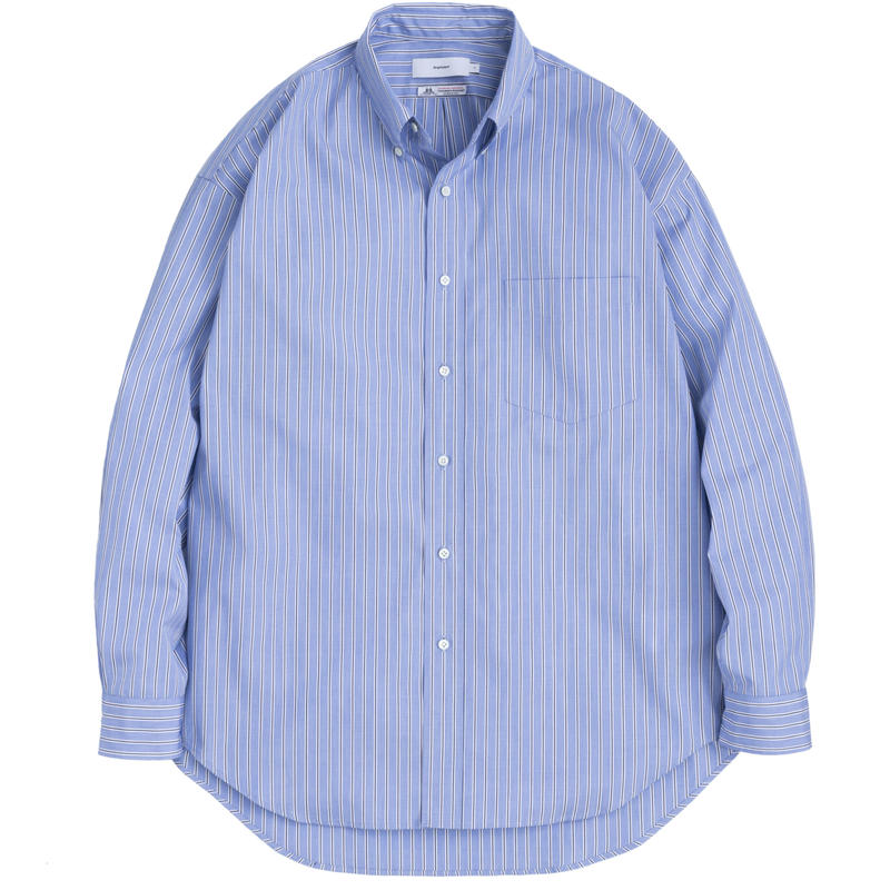Graphpaper MEN Thomas Mason L/S B.D Shirt SAX STRIPE GM191-50033B