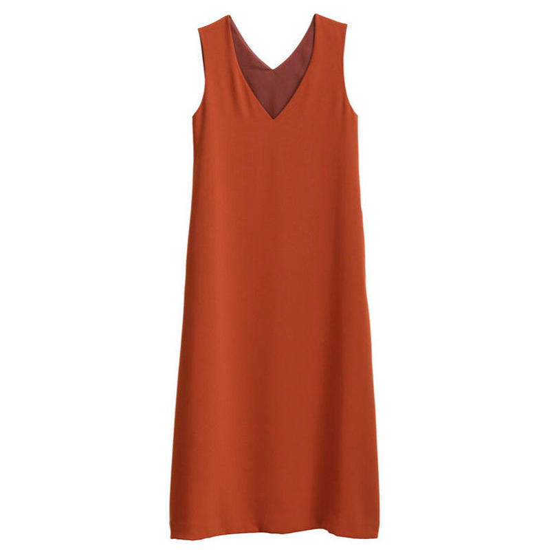 Graphpaper WOMEN Satin V Neck Sleeveless Dress 2colors