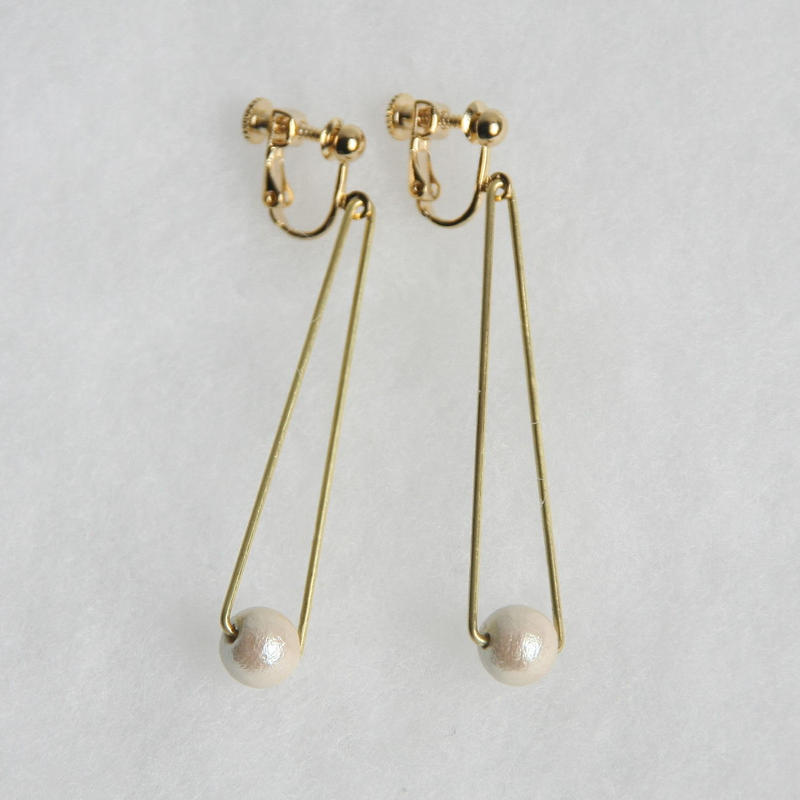 sankaku pearl earring long [VE-004k]