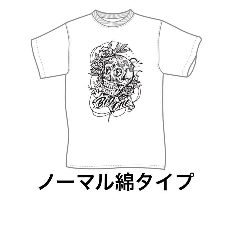 ■スカル柄ノーマル綿T(白)■