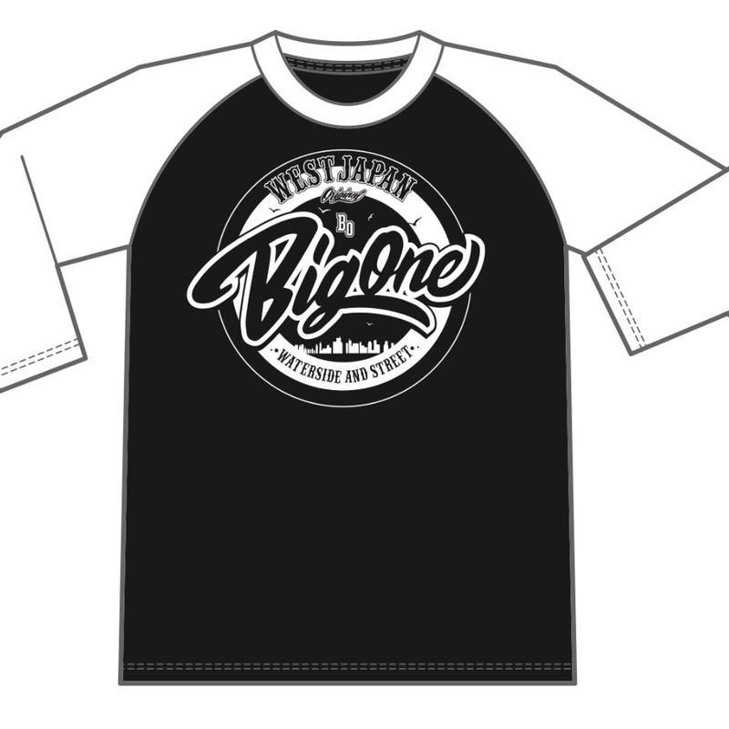 ラグランTシャツ袖白×黒