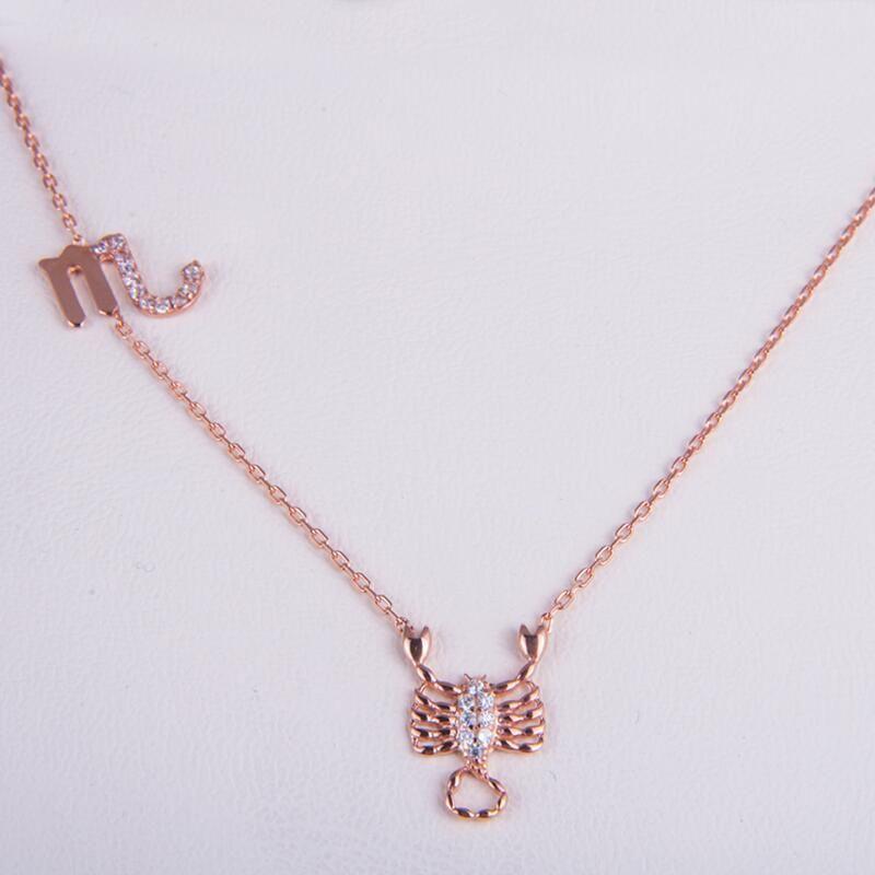 Rose Gold 925 Zodiac necklace Scorpio/さそり座