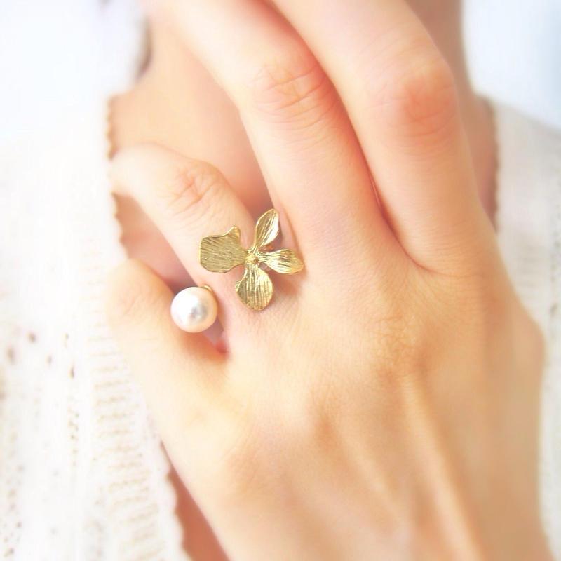Sumire & Pearl ring (K10 GOLG & Akoya Pearl)