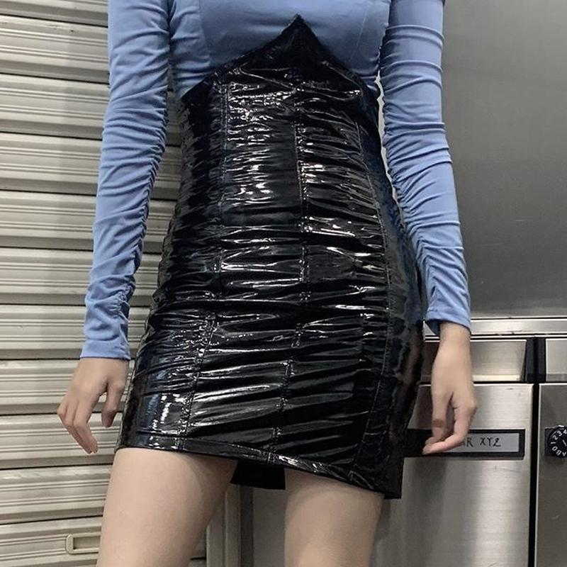 BO27 leather  tight skirt