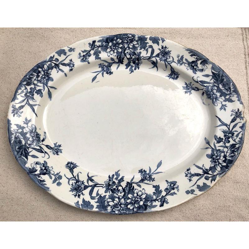 ブルーのお花の大皿