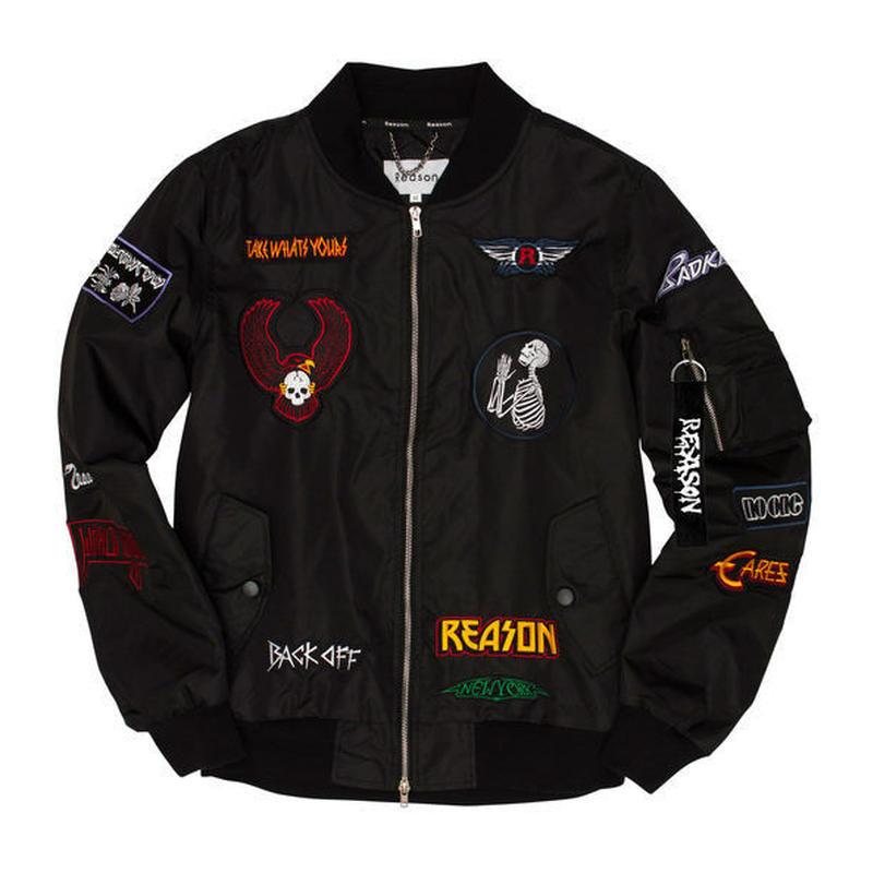 Reason Clothing Newyork/Patched Bomber Jacket