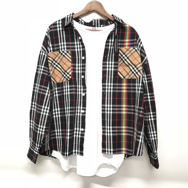 Mismatch NYC/Oversized patchwork  Shirts BLACK