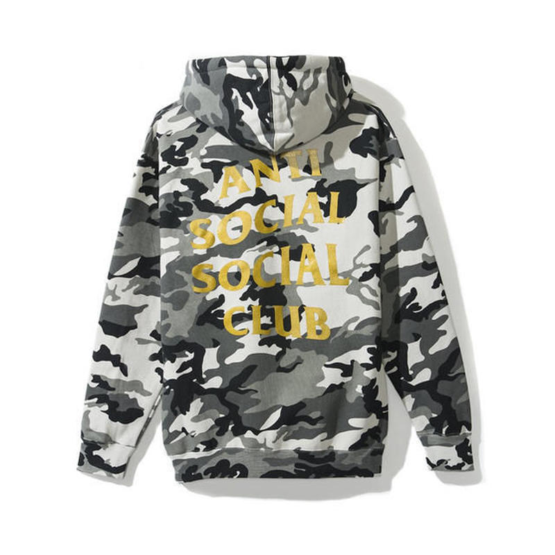 Anti Social Social Club/Logo フーディー BLACK CAMO×GOLD