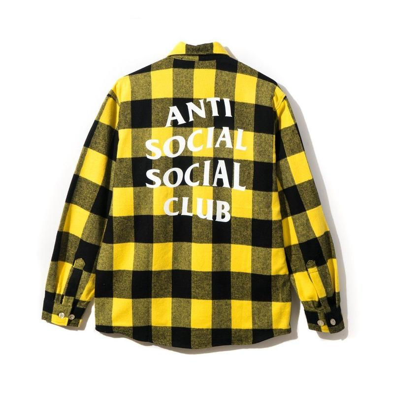 Anti Social Social Club/Canal St. Flannel チェックシャツ Yellow
