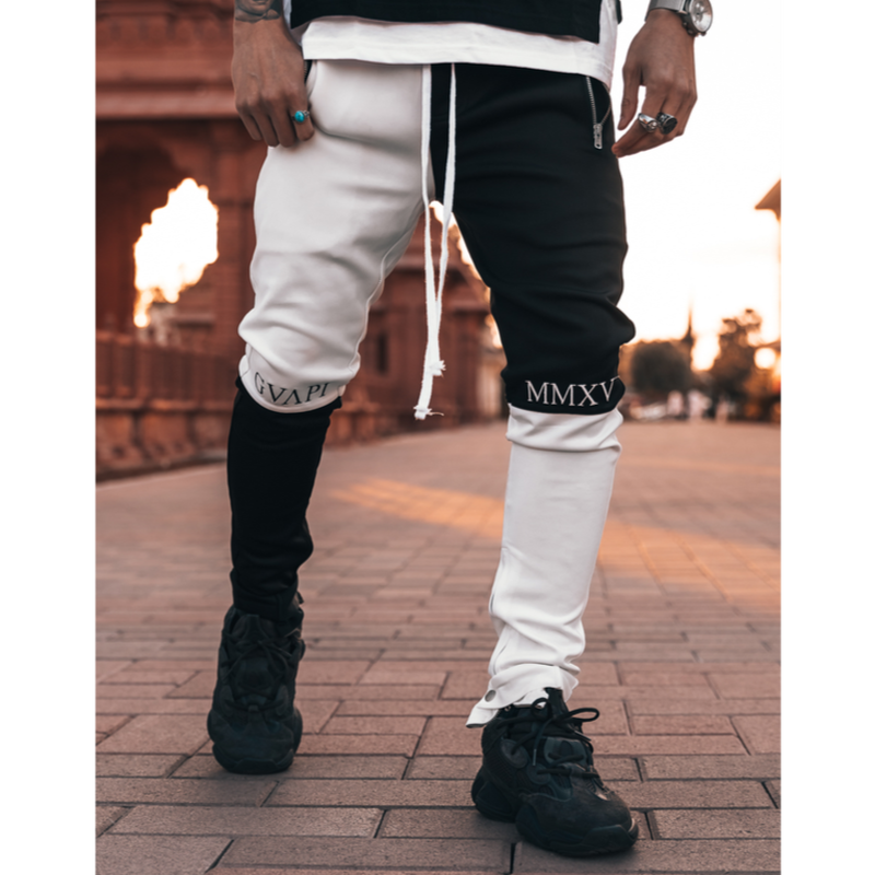 GUAPI/Split Biker Track Pants BLACK White