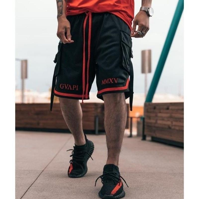 GUAPI/Basket ball shorts Black Red