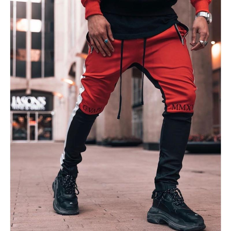 GUAPI/Biker Track Pants BLACK RED