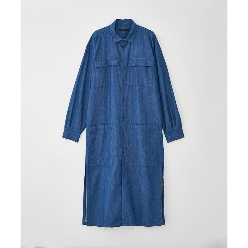 JUHA : BELTED DENIM LONG COAT