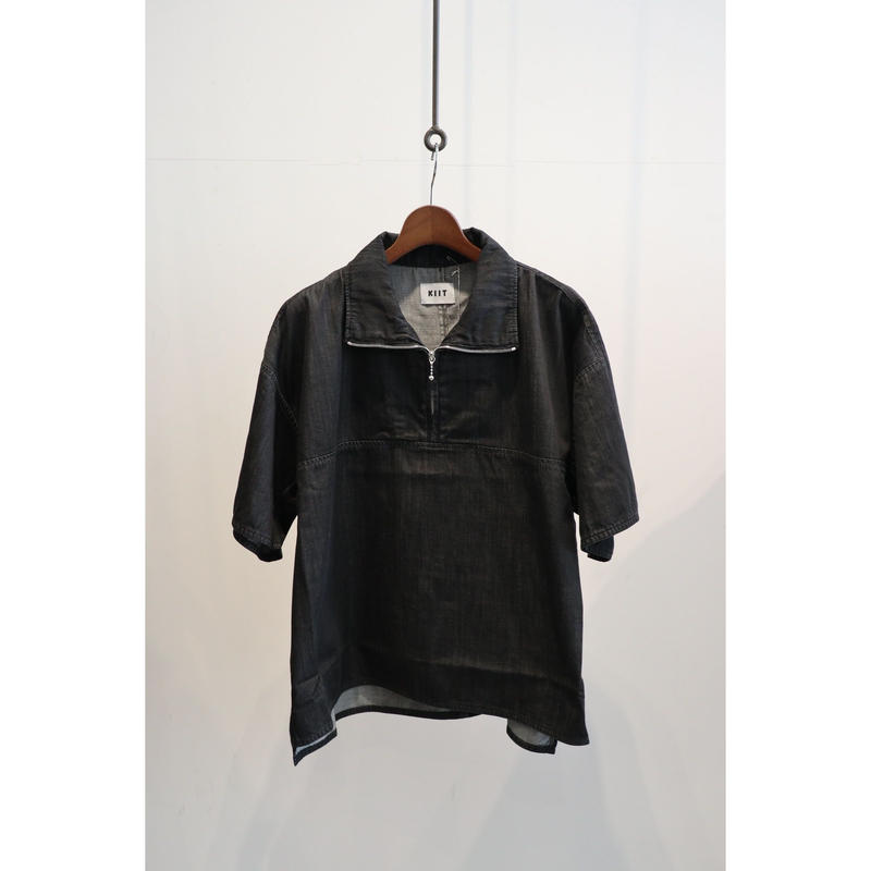 KIIT : 7OZ DENIM HALF ZIP S/S  TOPS