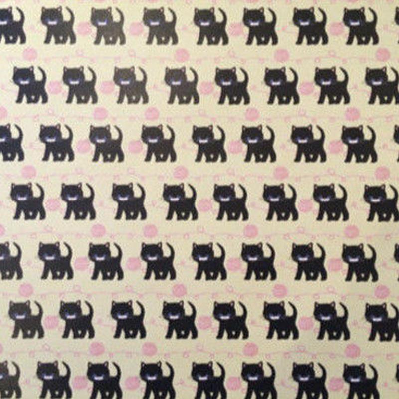 ミニラッピングペーパーA2(黒ネコと毛糸)