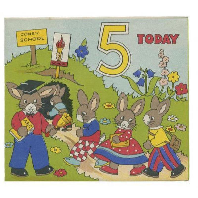 バースデーカード5 ウサギの学校