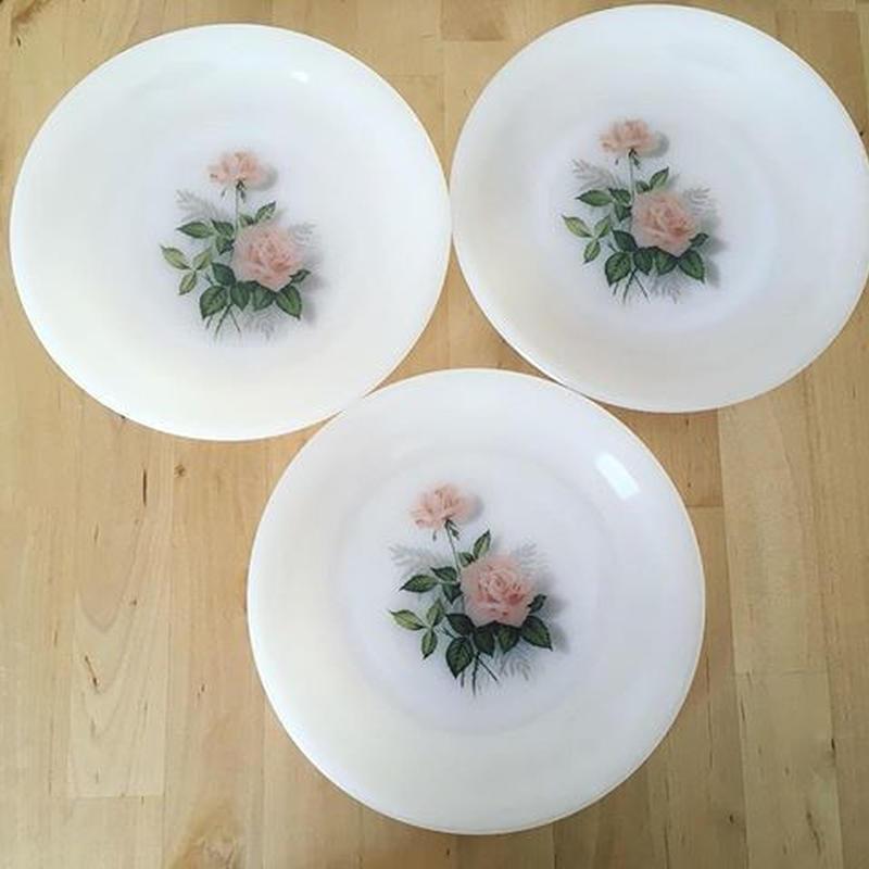 アルコパル ピンクのバラ デザート皿