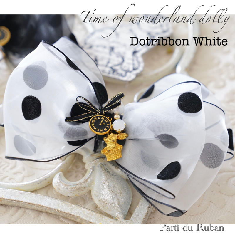 Time of wonderland dolly  Dot ribbon White