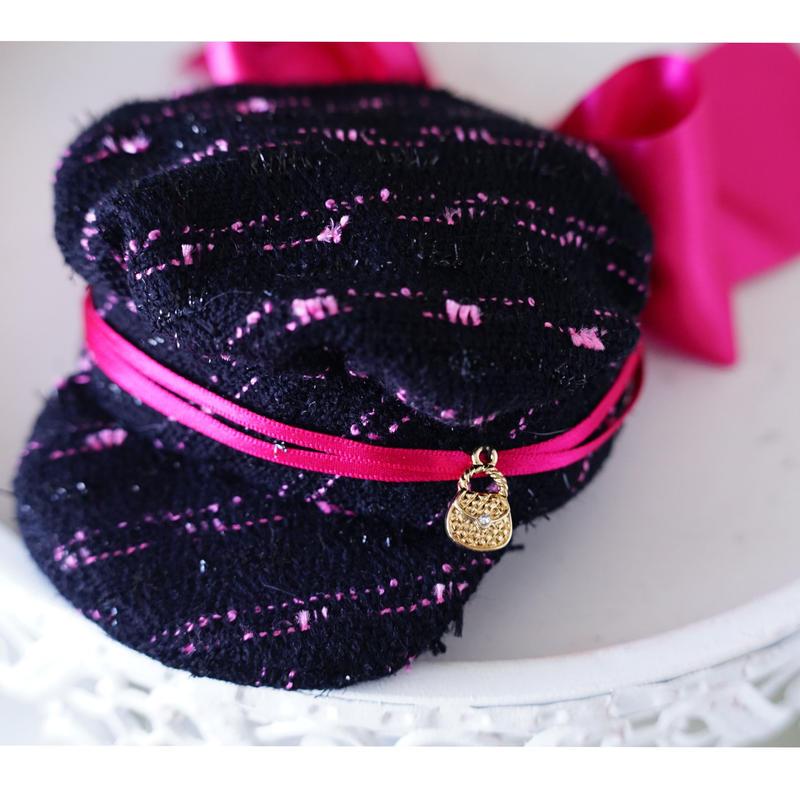 Basic cas tweed BLACK PINK