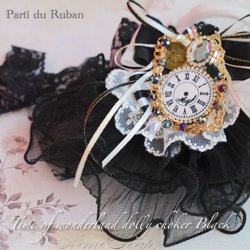 Time of wonderland dolly  choker Black