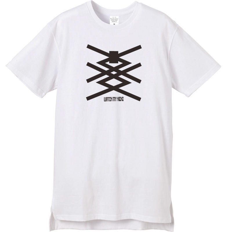WATCH MY KICKS  S/S Long Back tee WH
