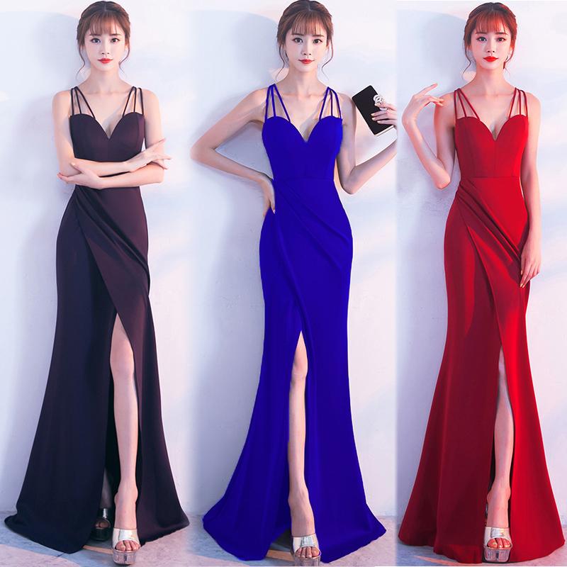 20代 セクシーなシンプルタイトロングドレス