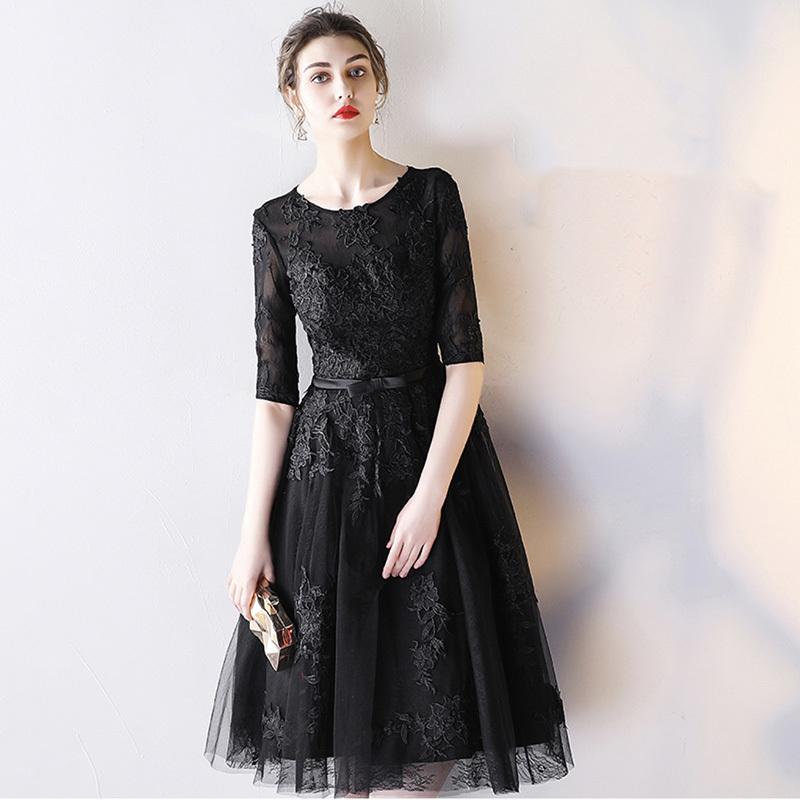 パーティードレス 結婚式 二次会 ワンピース 結婚式ドレス お呼ばれワンピース 20代 30代 40代 袖あり ひざ下丈 黒 赤 刺繍 レース