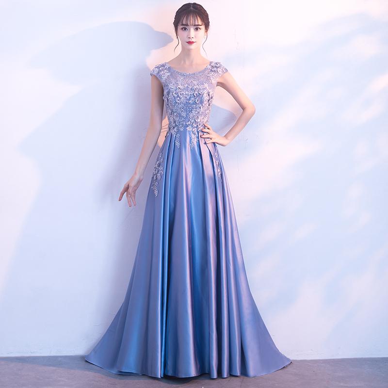 フラワー刺しゅうデザインAラインロングドレス