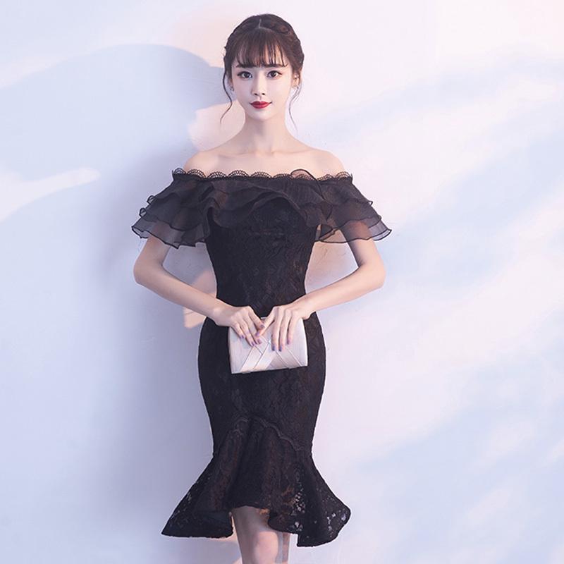 パーティードレス 結婚式 二次会 ワンピース 結婚式ドレス お呼ばれワンピース 20代 30代 40代 袖あり ひざ丈 黒 レース 刺繍