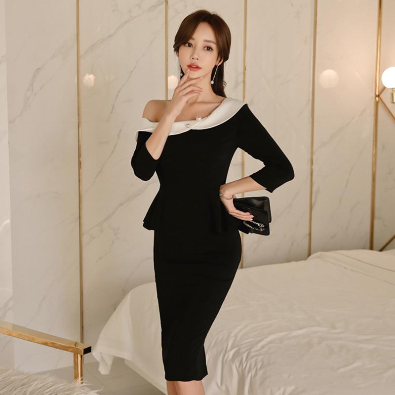 パーティードレス 結婚式 二次会 ワンピース 結婚式ドレス お呼ばれワンピース 20代 30代 40代 袖あり ひざ下丈 黒