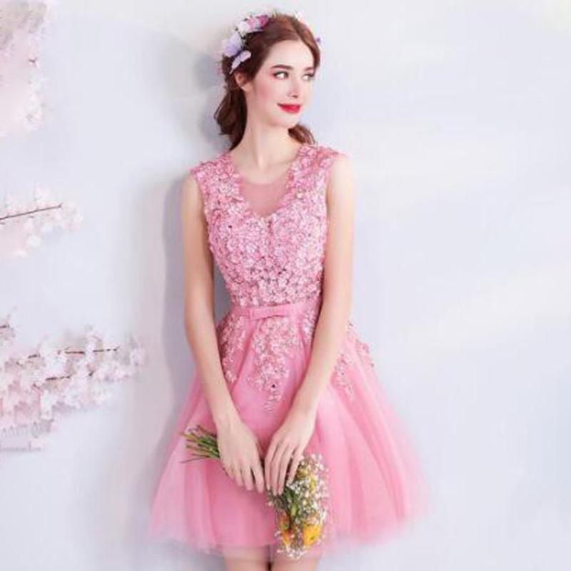 パーティードレス ミニドレス  華やか キュート 二次会 結婚式 披露宴 司会者 花嫁 写真撮影 演奏会 舞台衣装  ピンク