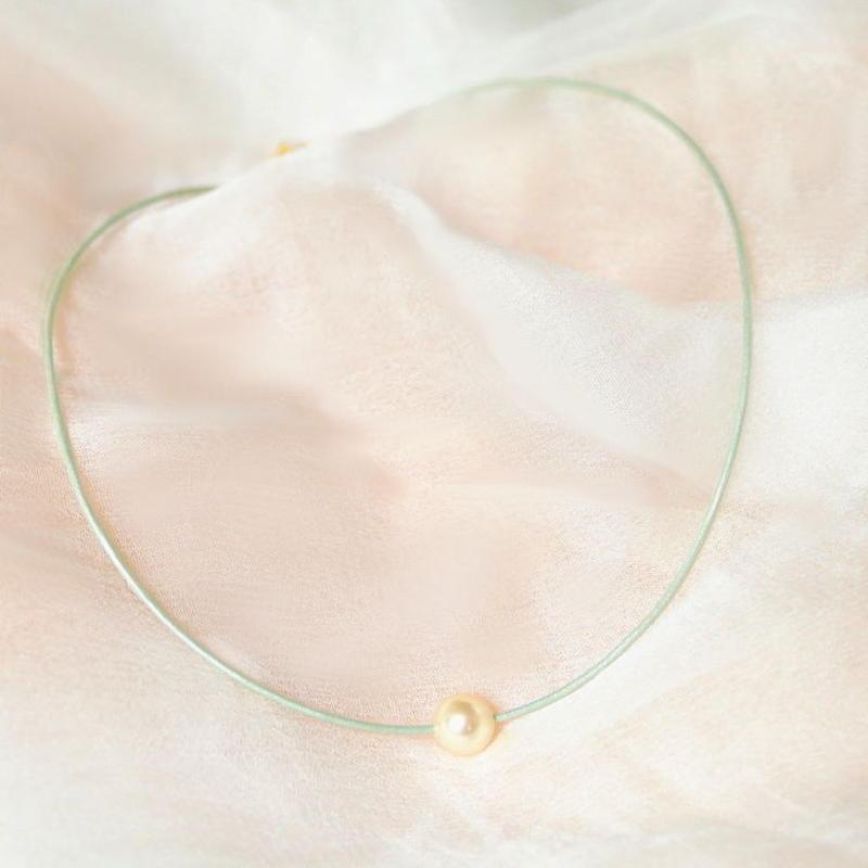 《受注制作》アコヤ一粒革紐ネックレス 革紐はmyカラーで!