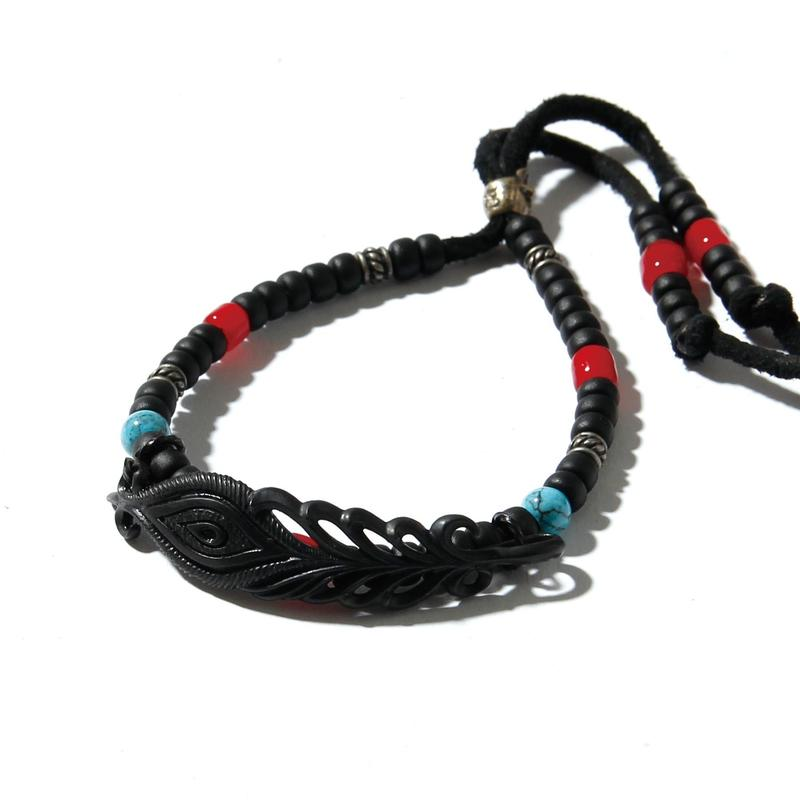 Peacock Feather Beads Bracelet / BLACK 2902712