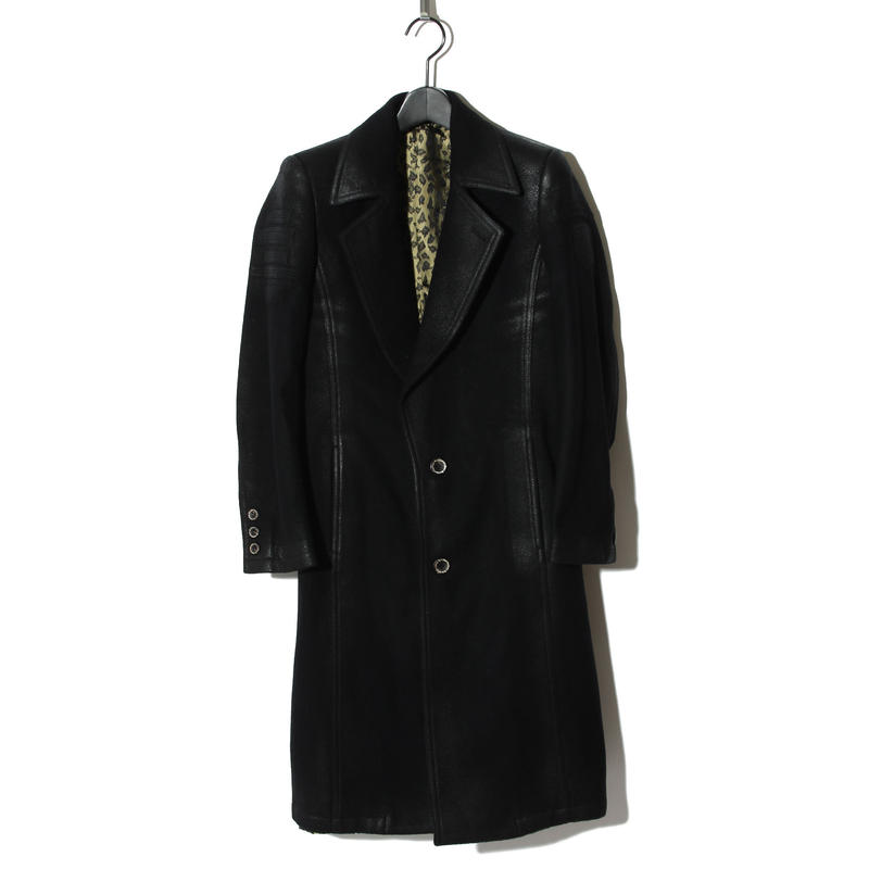 Cashmere Beaver Wool Long Coat Leather Like / BLACK 2902313