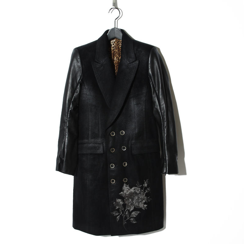 Rose Embroidery Leather Sleeve Jacket Coat / BLACK 2902316