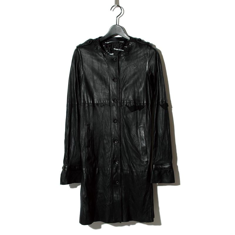 Leather Long Shirt Coat / BLACK 2902201
